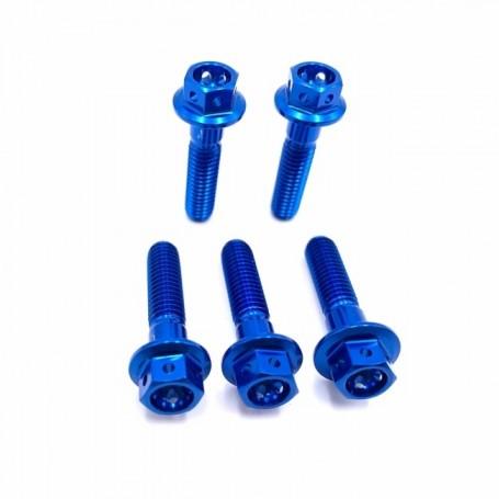 Kit 5 Vis à Tête Hexagonale Race en Aluminium M10 x (1.25mm) x 70mmVis Anodisé Bleu