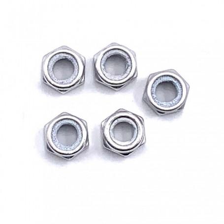 Pack de 5 Ecrou Nylstop en Aluminium 7075 M3 x (0.50mm)Anodisé Silver